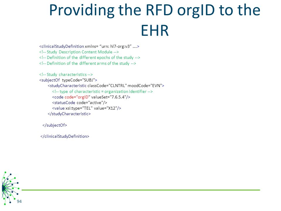 Providing the RFD orgID to the EHR