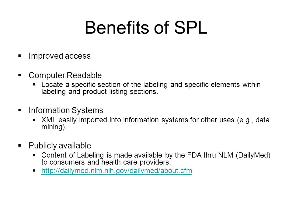 Benefits of SPL Improved access Computer Readable Information Systems