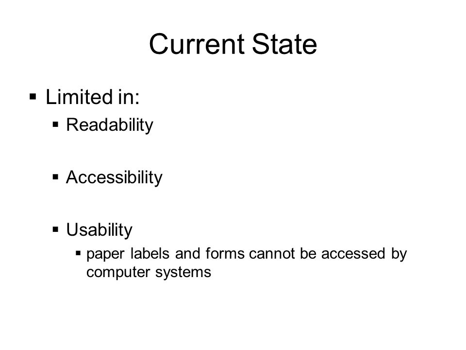 Current State Limited in: Readability Accessibility Usability