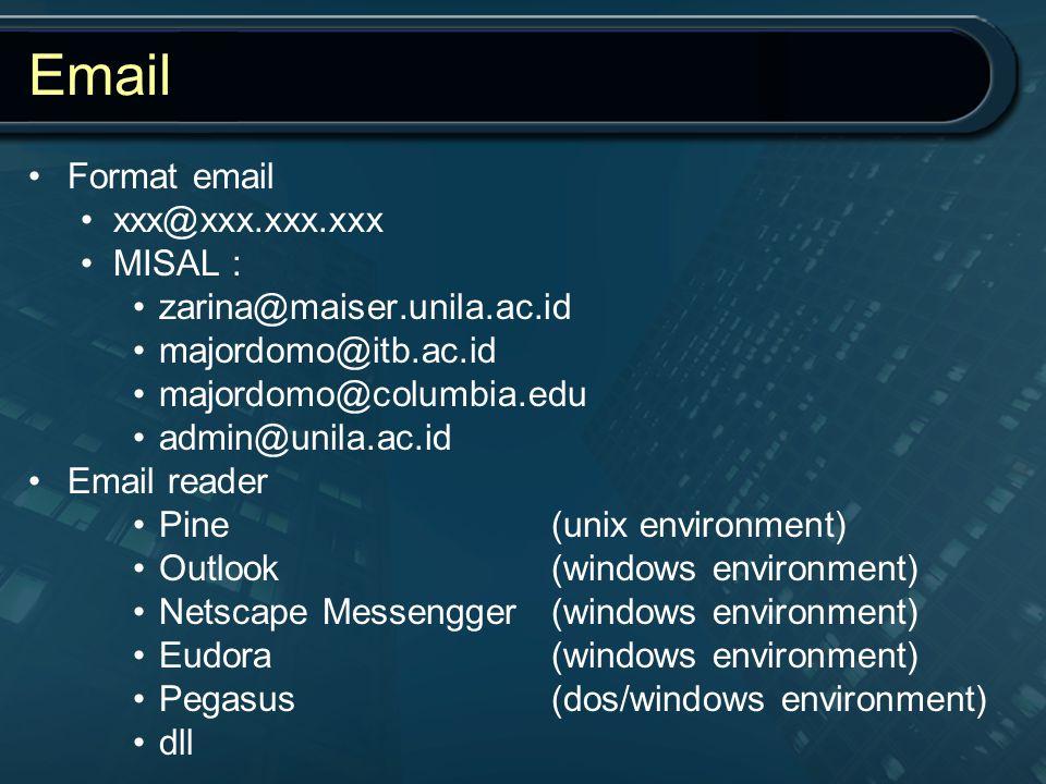Email Format email xxx@xxx.xxx.xxx MISAL : zarina@maiser.unila.ac.id