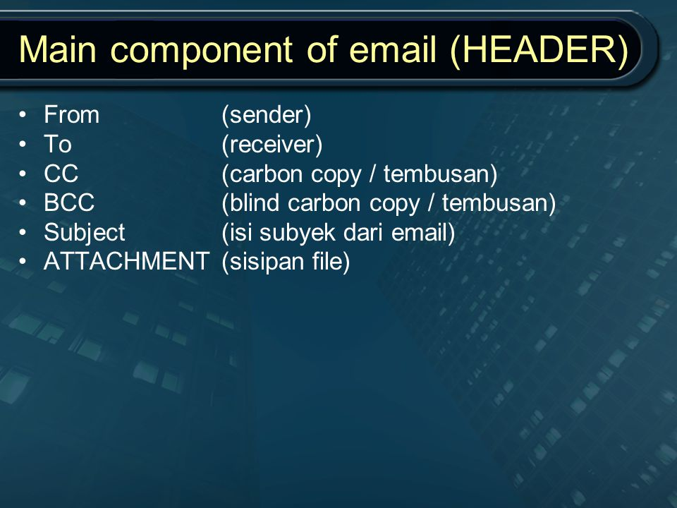 Main component of email (HEADER)
