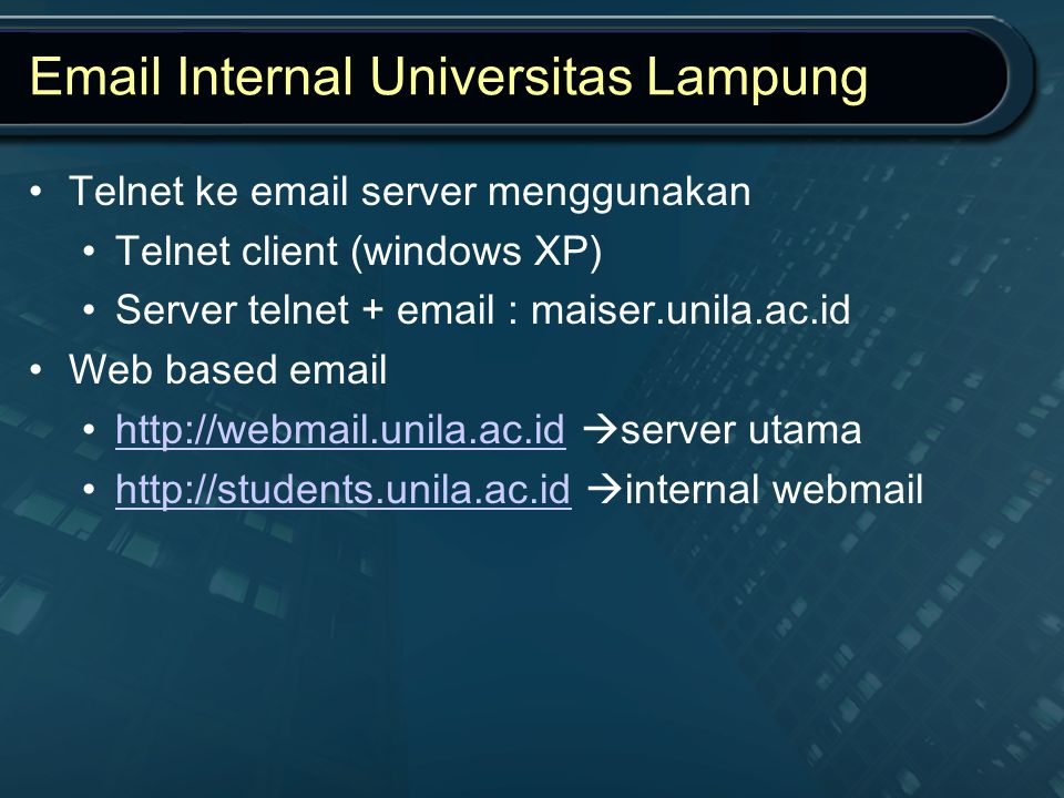 Email Internal Universitas Lampung