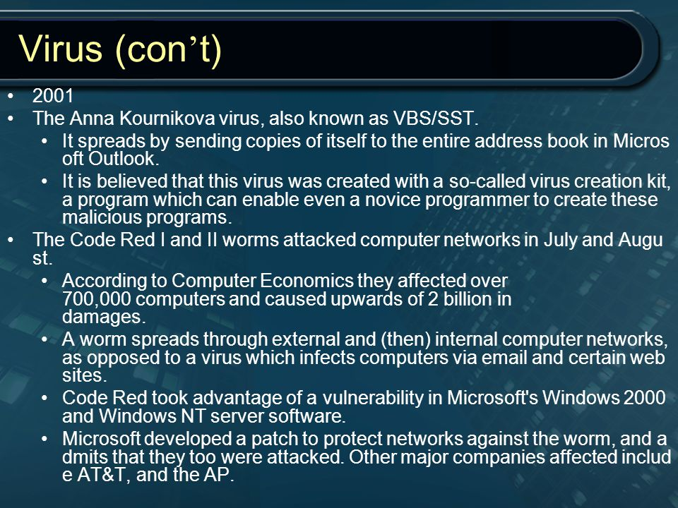 Virus (con't) 2001 The Anna Kournikova virus, also known as VBS/SST.