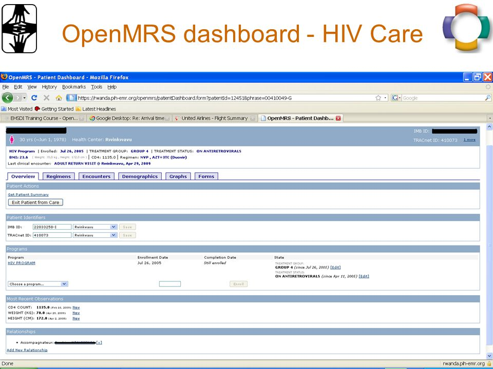 OpenMRS dashboard - HIV Care