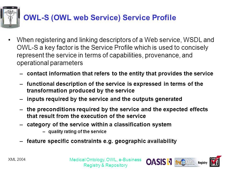 OWL-S (OWL web Service) Service Profile
