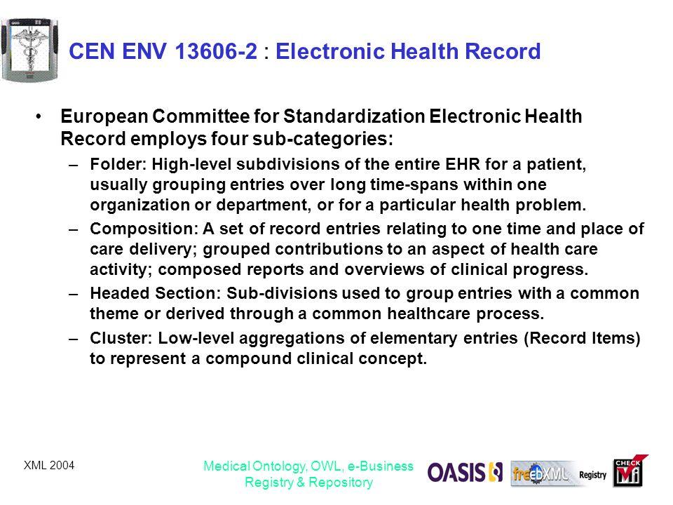 CEN ENV 13606-2 : Electronic Health Record