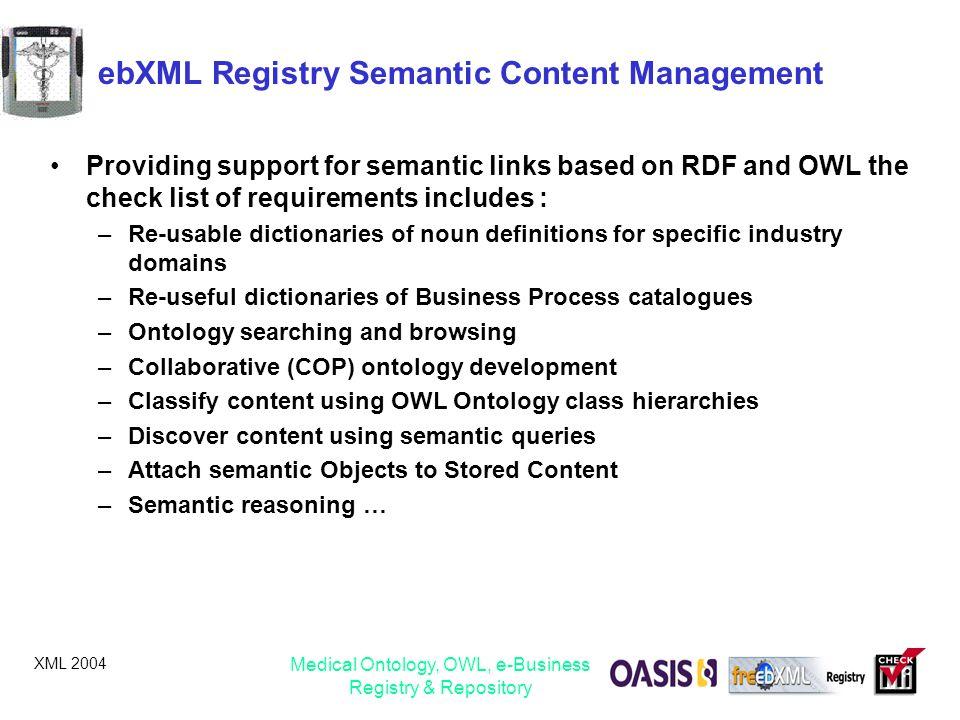ebXML Registry Semantic Content Management