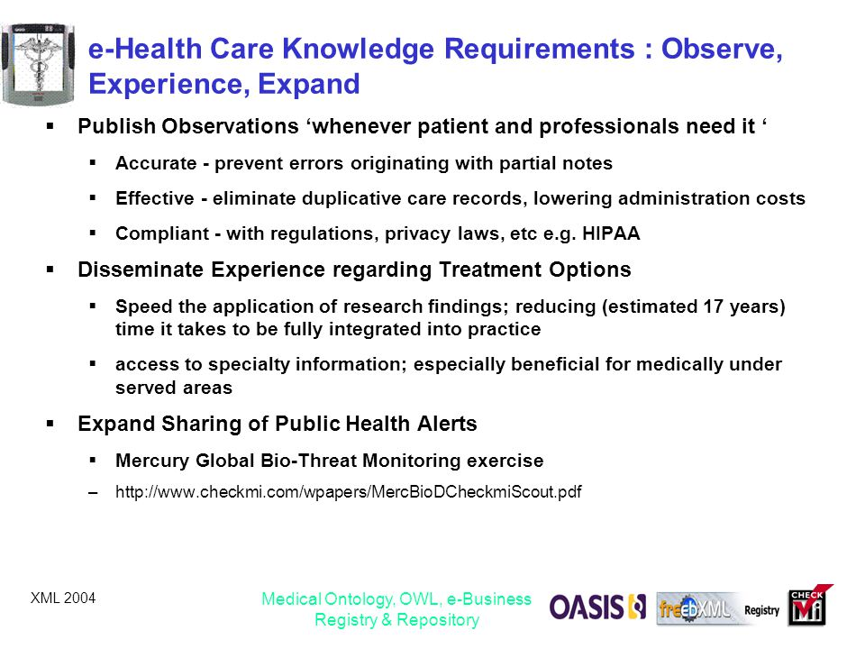 e-Health Care Knowledge Requirements : Observe, Experience, Expand