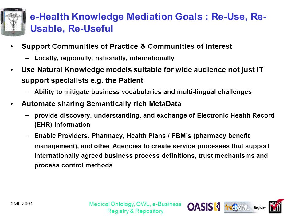 e-Health Knowledge Mediation Goals : Re-Use, Re-Usable, Re-Useful