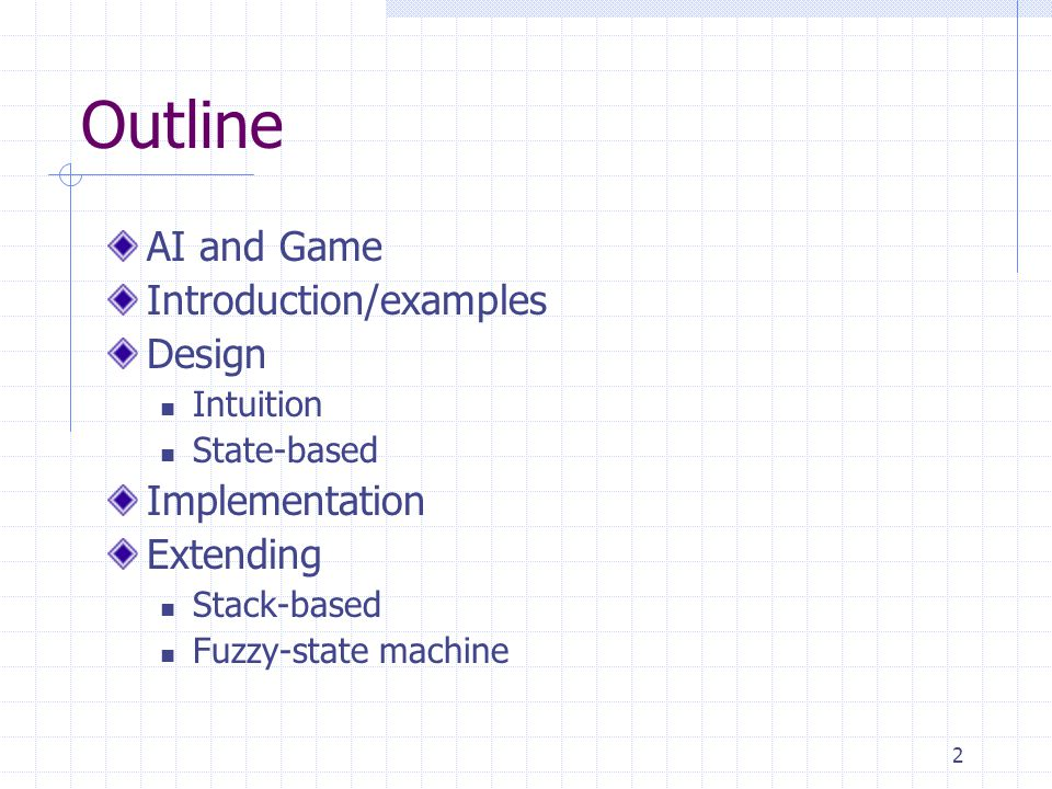 Outline AI and Game Introduction/examples Design Implementation