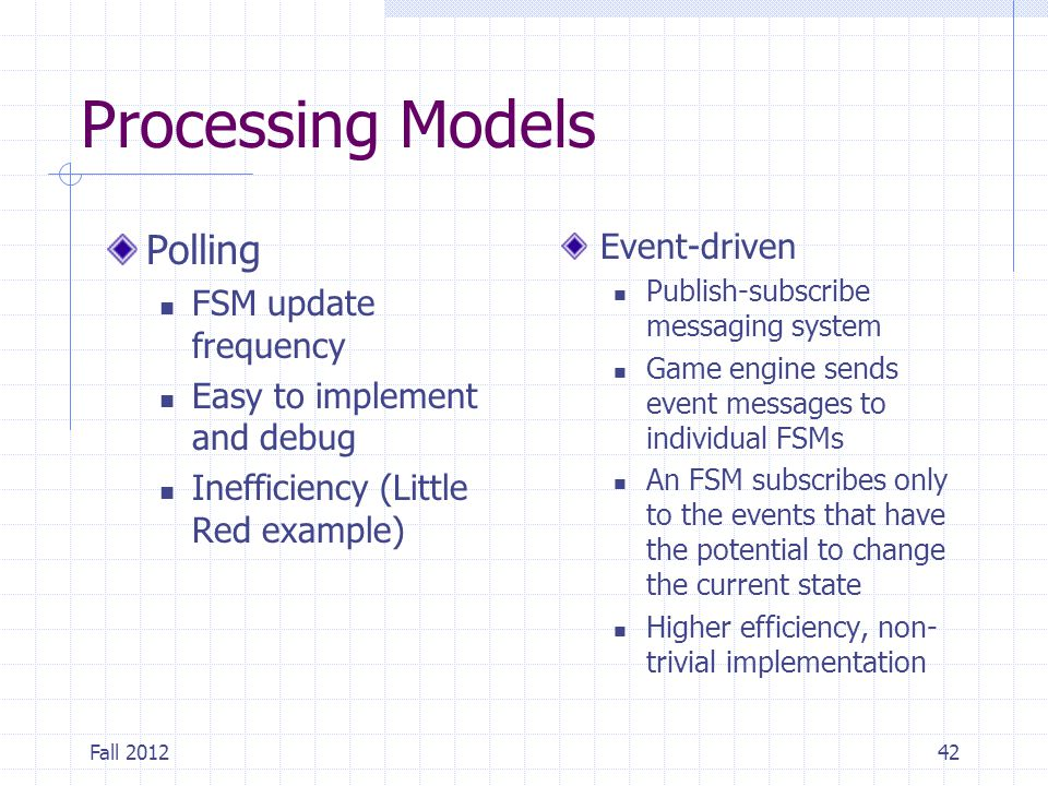 Processing Models Polling Event-driven FSM update frequency