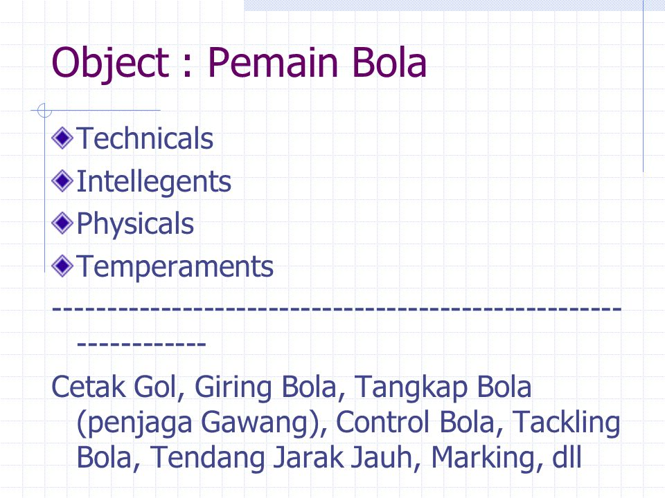Object : Pemain Bola Technicals Intellegents Physicals Temperaments