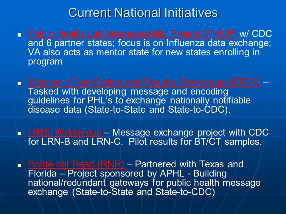 Current National Initiatives
