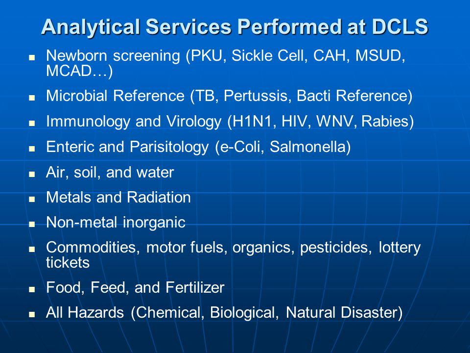 Analytical Services Performed at DCLS