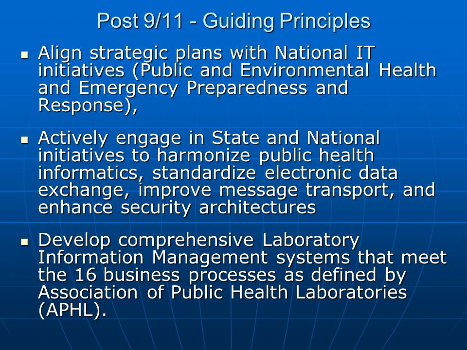 Post 9/11 - Guiding Principles