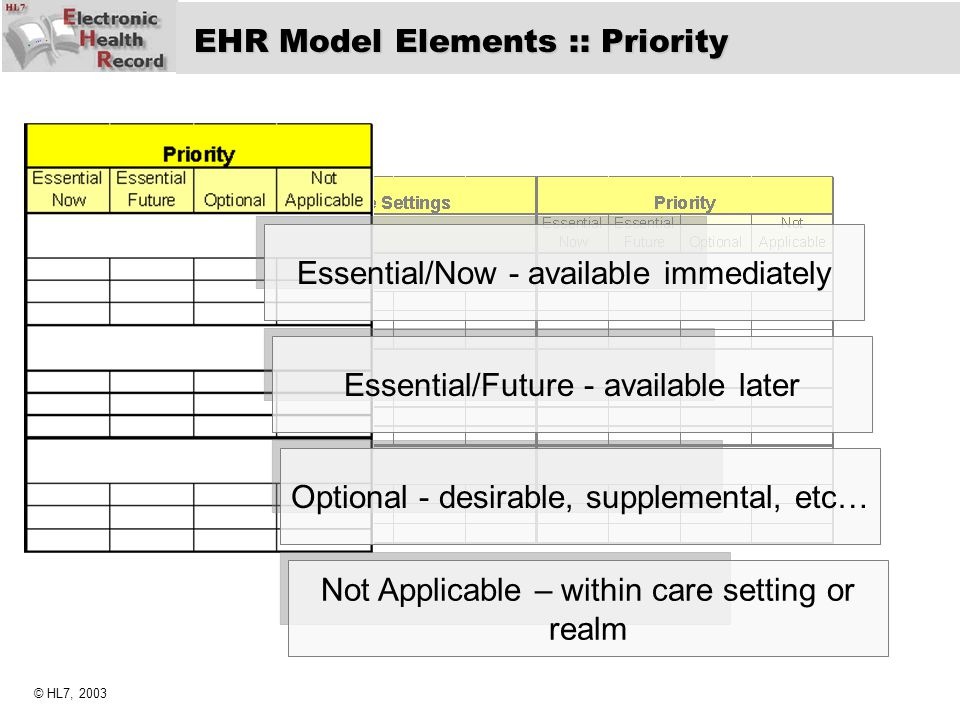 EHR Model Elements :: Priority