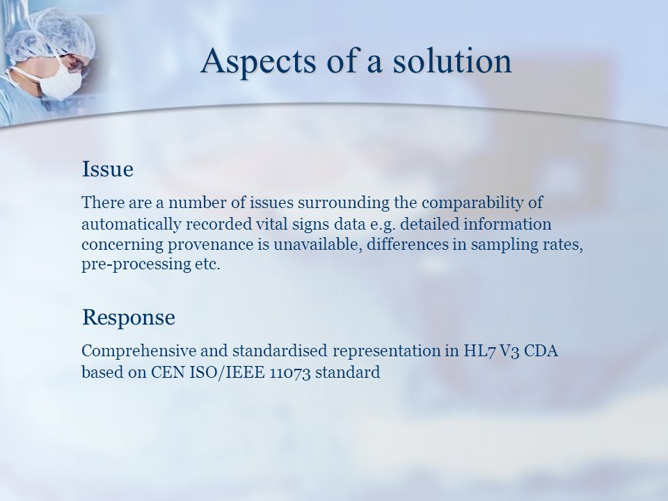 Aspects of a solution Issue