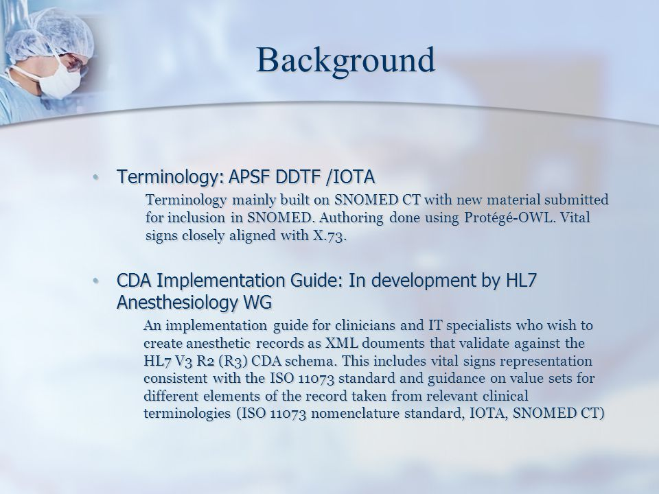 Background Terminology: APSF DDTF /IOTA