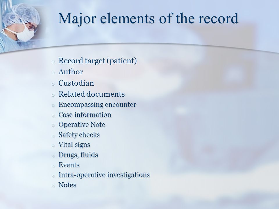 Major elements of the record