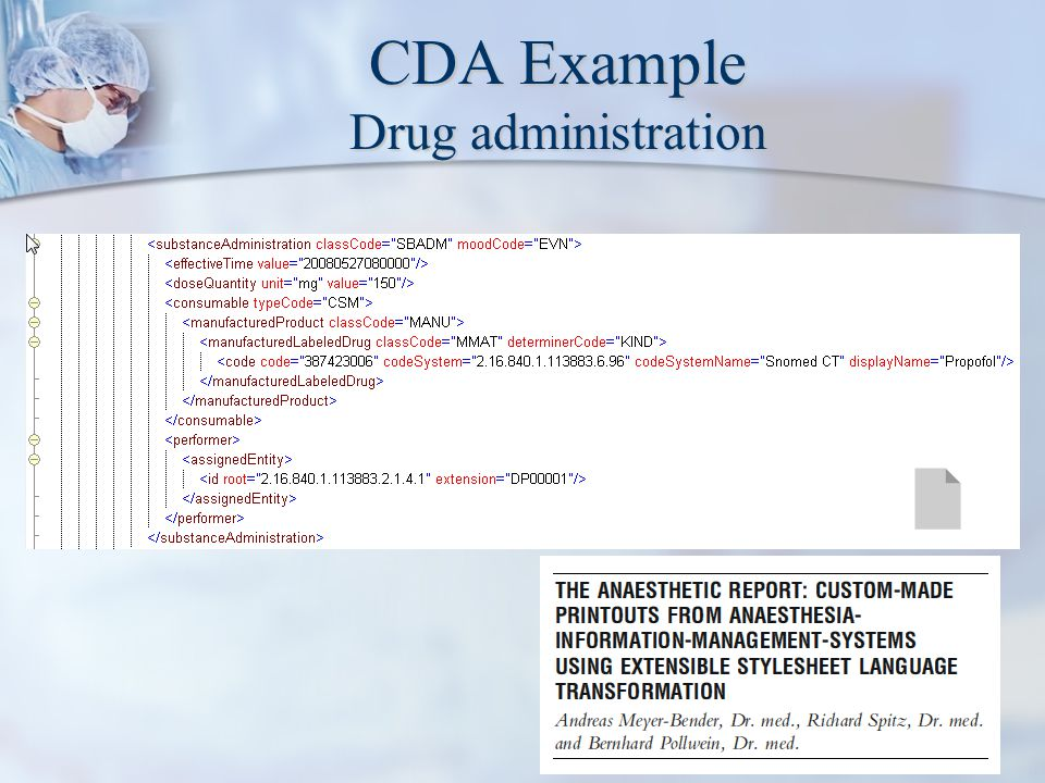 CDA Example Drug administration
