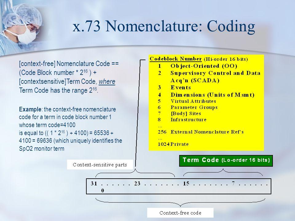 x.73 Nomenclature: Coding