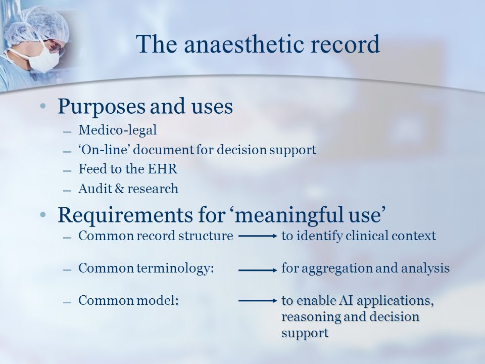 The anaesthetic record