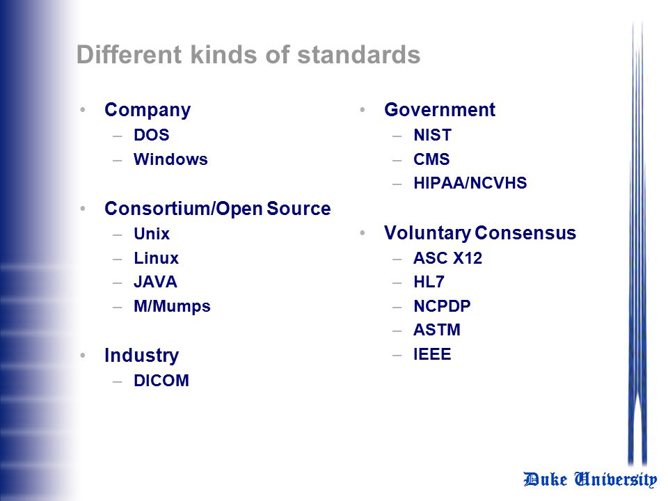 Different kinds of standards