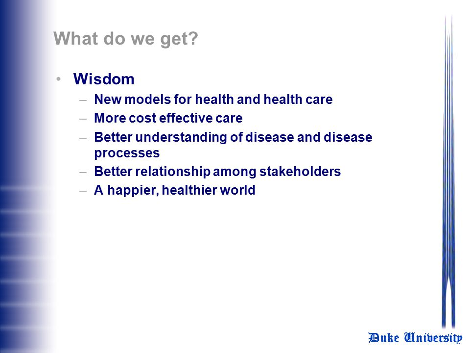What do we get Wisdom New models for health and health care