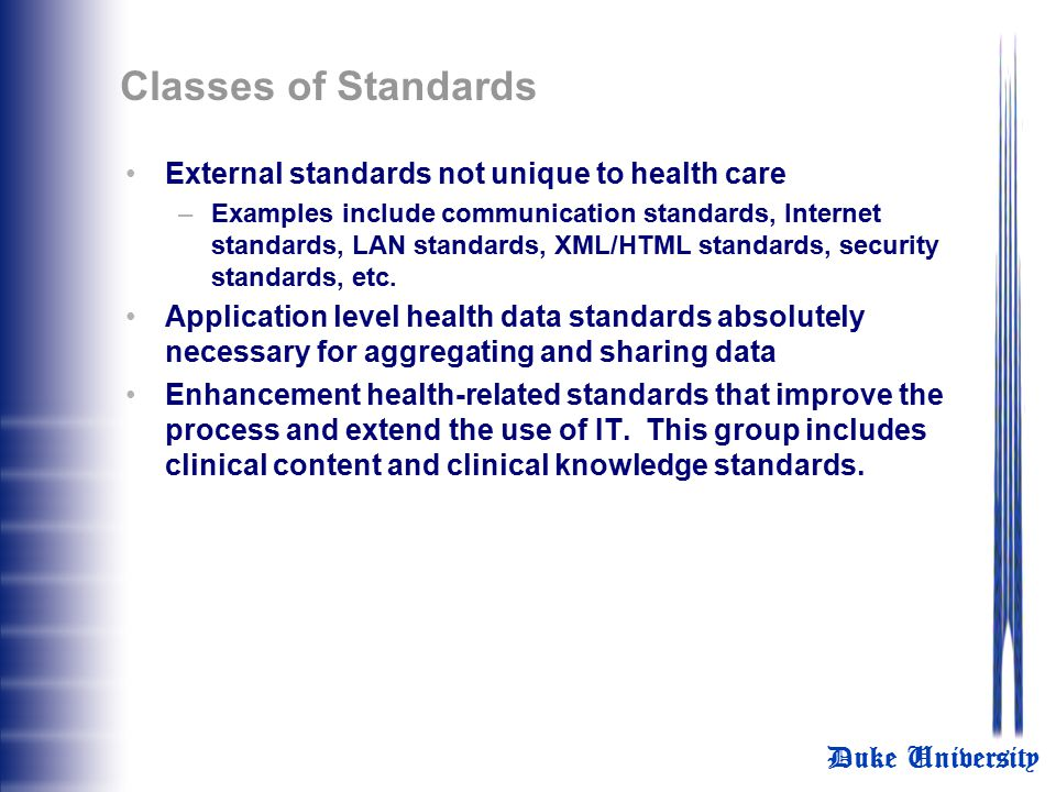 Classes of Standards External standards not unique to health care