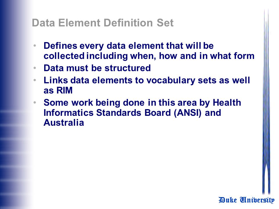 Data Element Definition Set
