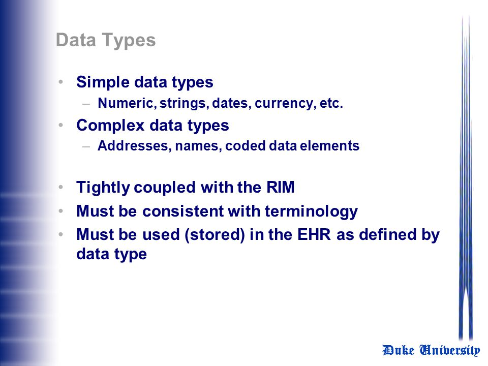 Data Types Simple data types Complex data types