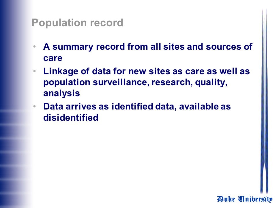 Population record A summary record from all sites and sources of care