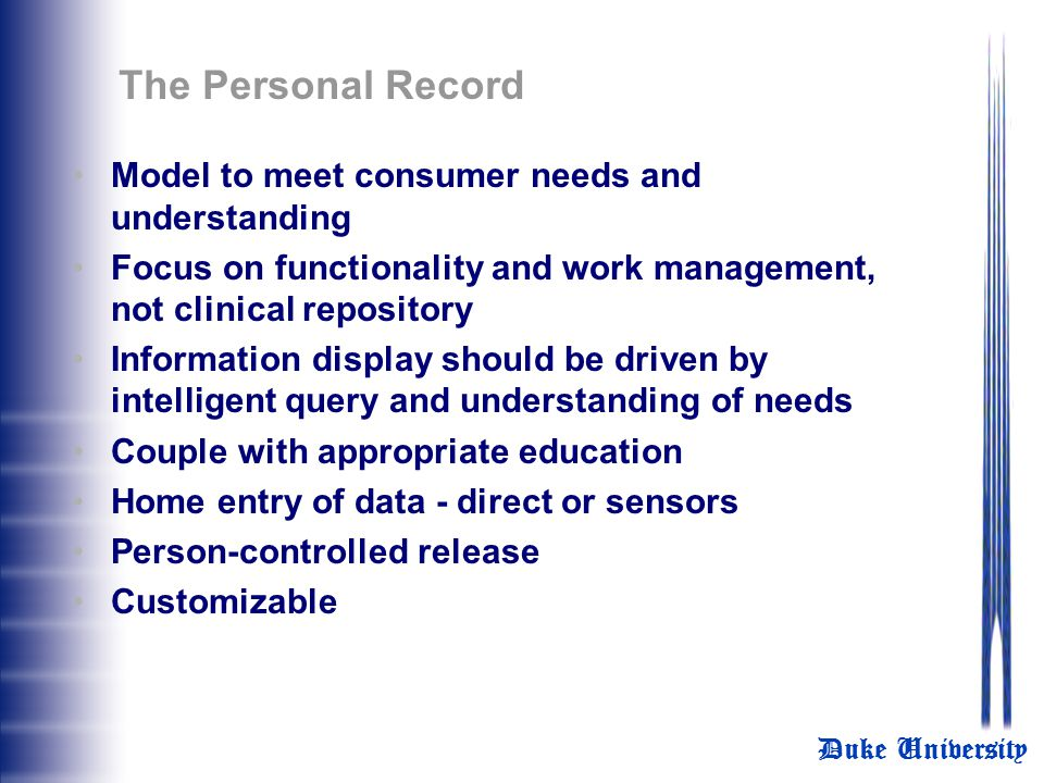The Personal Record Model to meet consumer needs and understanding