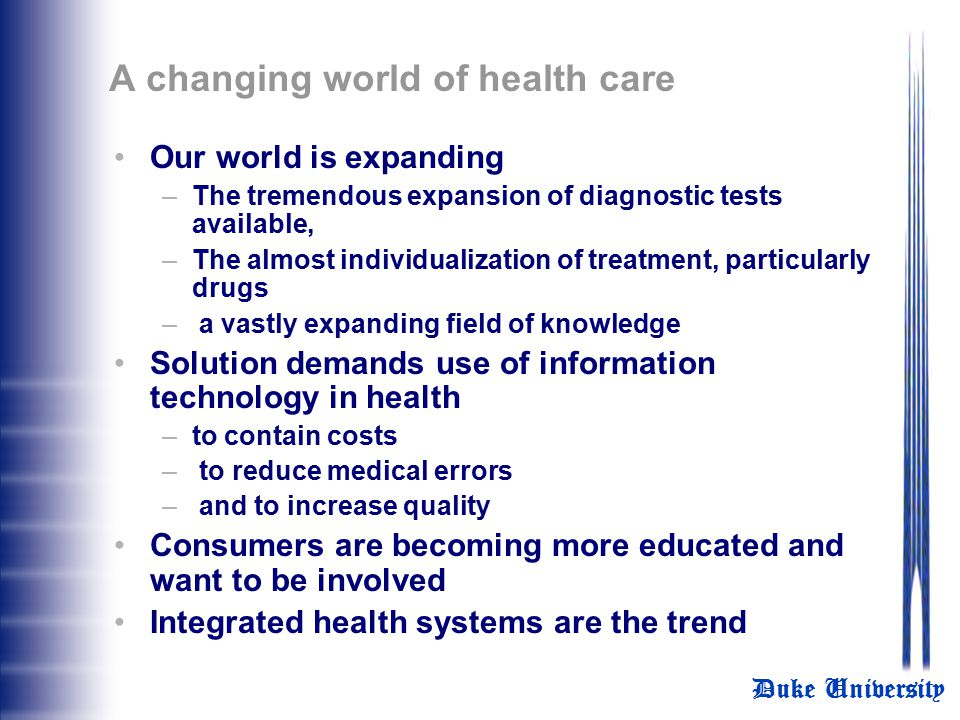 A changing world of health care