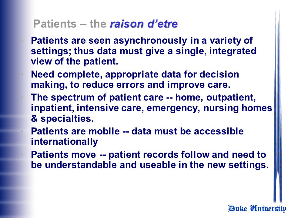 Patients – the raison d'etre