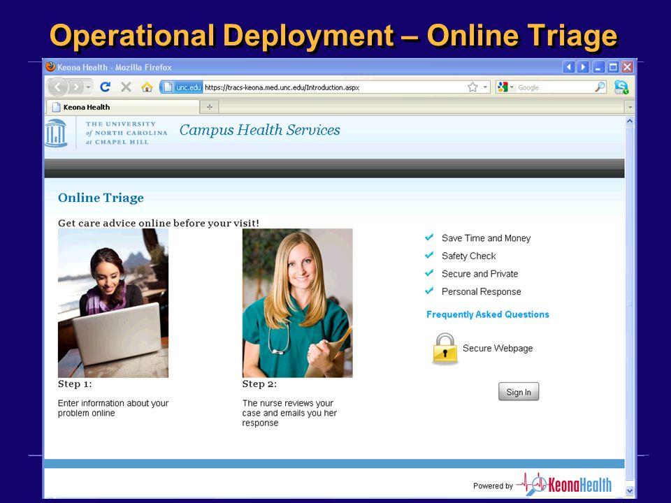 Operational Deployment – Online Triage