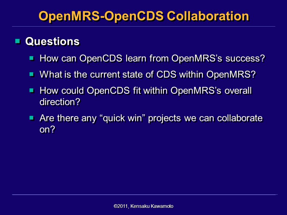 OpenMRS-OpenCDS Collaboration