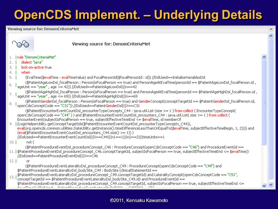OpenCDS Implement. – Underlying Details