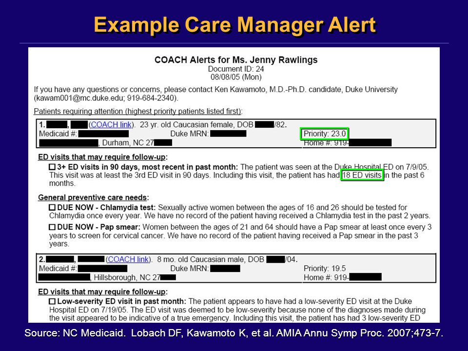 Example Care Manager Alert