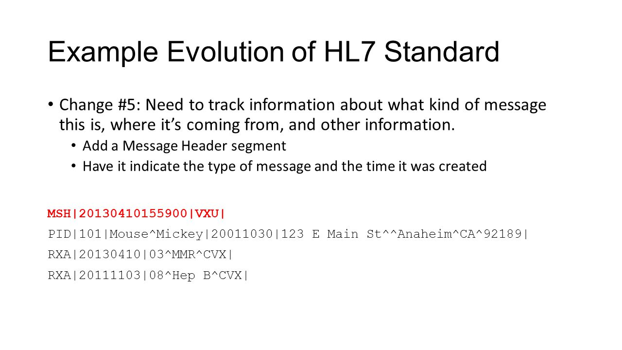 Example Evolution of HL7 Standard