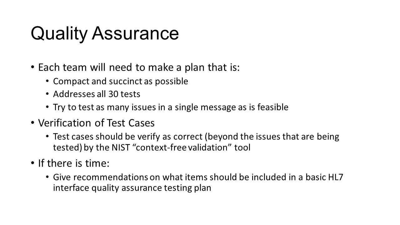 Quality Assurance Each team will need to make a plan that is: