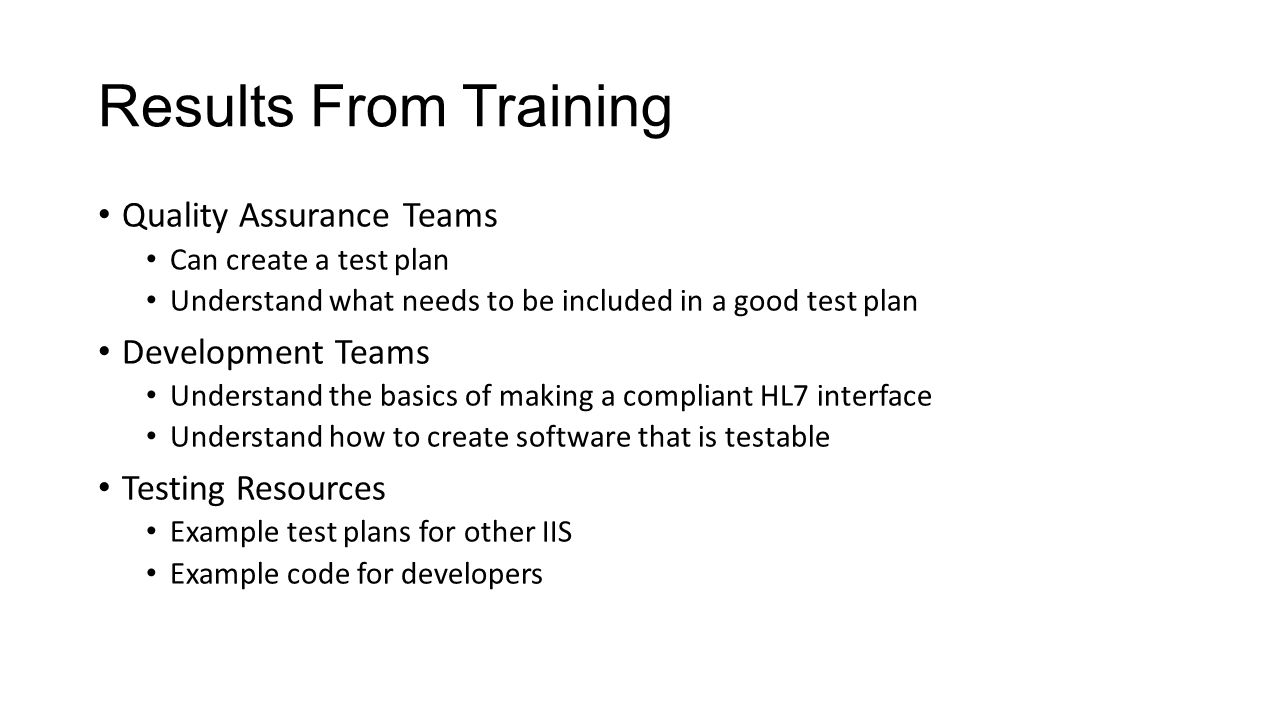 Results From Training Quality Assurance Teams Development Teams