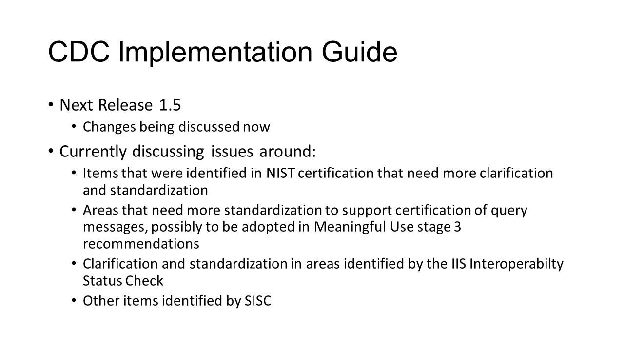 CDC Implementation Guide