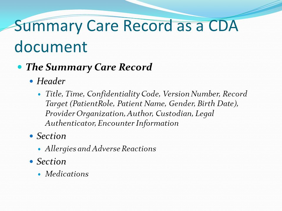 Summary Care Record as a CDA document