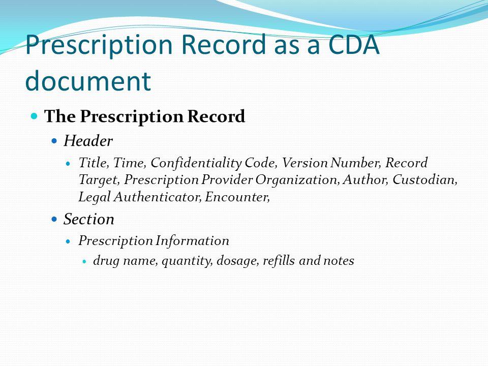 Prescription Record as a CDA document