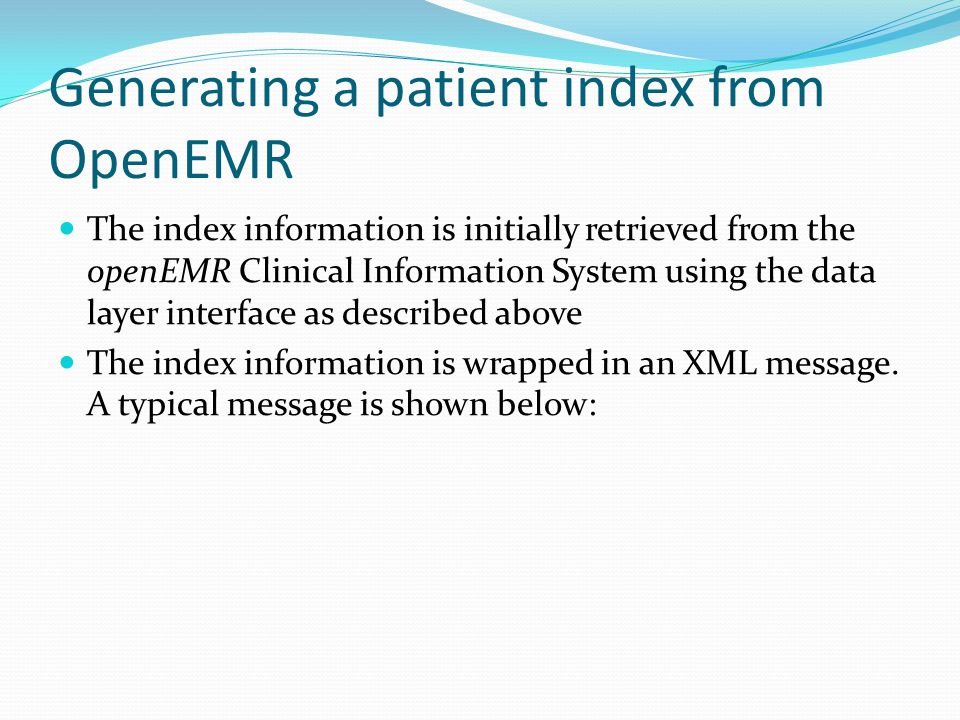 Generating a patient index from OpenEMR
