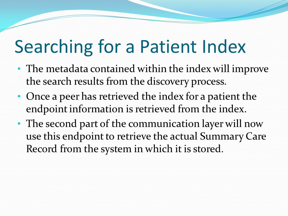 Searching for a Patient Index