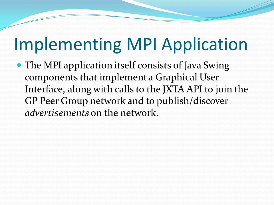 Implementing MPI Application