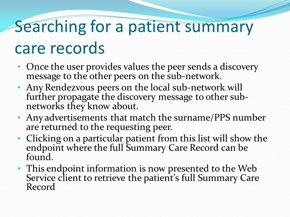 Searching for a patient summary care records