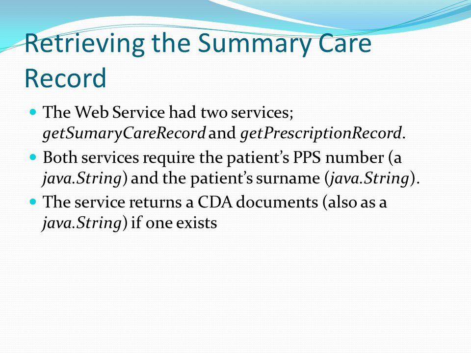 Retrieving the Summary Care Record